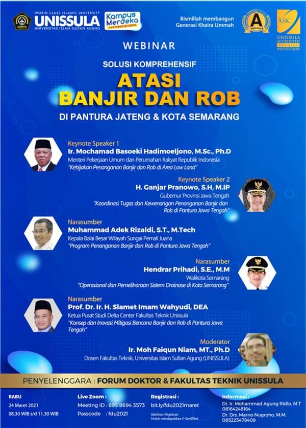 Webinar mengenai Solusi Banjir dan Rob di Jalur Pantura dan Kota Semarang dari UNISSULA